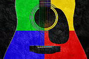 Popular Mixed Media Posters - Hour Glass Guitar 4 Colors 1 Poster by Andee Photography