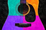 Popular Mixed Media Prints - Hour Glass Guitar 4 Colors 2 Print by Andee Photography