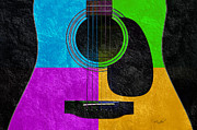 Wooden Mixed Media Metal Prints - Hour Glass Guitar 4 Colors 3 Metal Print by Andee Photography