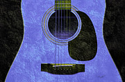 Popular Mixed Media Metal Prints - Hour Glass Guitar Blue 3 T Metal Print by Andee Photography
