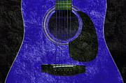 Traditional Culture Mixed Media - Hour Glass Guitar Blue 4 T by Andee Photography