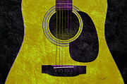Popular Mixed Media Metal Prints - Hour Glass Guitar Gold 1 T  Metal Print by Andee Photography