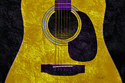 Popular Mixed Media Posters - Hour Glass Guitar Gold 2 T Poster by Andee Photography
