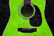 Popular Mixed Media Posters - Hour Glass Guitar Green 3 T Poster by Andee Photography