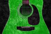 Popular Mixed Media Posters - Hour Glass Guitar Green 4 T Poster by Andee Photography