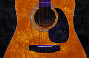 Popular Mixed Media Prints - Hour Glass Guitar Orange 1 T Print by Andee Photography