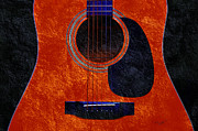 Up Close. Texture Mixed Media Framed Prints - Hour Glass Guitar Orange 2 T Framed Print by Andee Photography