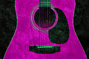 Sound Mixed Media Prints - Hour Glass Guitar Pink 1 T Print by Andee Photography