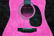 Wooden Mixed Media Metal Prints - Hour Glass Guitar Pink 2 T Metal Print by Andee Photography