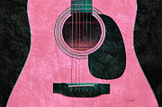 Popular Mixed Media Prints - Hour Glass Guitar Pink 3 T Print by Andee Photography