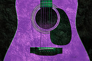 Sound Mixed Media Prints - Hour Glass Guitar Purple 1 T Print by Andee Photography