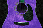 Popular Mixed Media Prints - Hour Glass Guitar Purple 2 T Print by Andee Photography