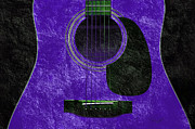 Random Mixed Media - Hour Glass Guitar Purple 3 T by Andee Photography