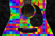 Object Mixed Media Prints - Hour Glass Guitar Random Rainbow Squares Print by Andee Photography
