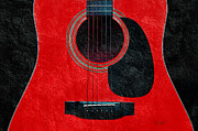 Popular Mixed Media Prints - Hour Glass Guitar Red 1 T Print by Andee Photography