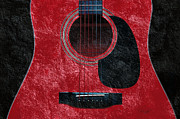 Guitars Mixed Media - Hour Glass Guitar Red 2 T by Andee Photography