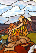 Spiritual Glass Art Prints - Hour Of Peace And Rest Print by David Gomm