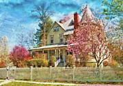 Painted Lady Posters - House - A Victorian Springtime Poster by Mike Savad