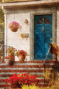 Stoop Framed Prints - House - Blue Front Door Framed Print by Mike Savad