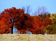 Colors Of Autumn Prints - House Afire Print by Mike Justice