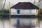 Peaceful Scenery Posters - House along the Kerala Backwaters Poster by Andrew Soundarajan