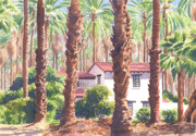 Springs Paintings - House among Date Palms in Indio by Mary Helmreich