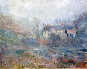 Country Cottage Metal Prints - House at Falaise Metal Print by Claude Monet