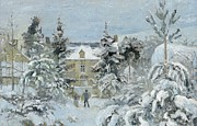 Snow On Trees Prints - House at Montfoucault Print by Camille Pissarro