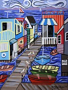 Sea Birds Mixed Media Posters - House Boats For Sale Poster by Anthony Falbo