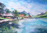 Waterscape Painting Metal Prints - House by The Lagoon in French Polynesia Metal Print by Miki De Goodaboom