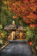 Autumn Scenes Prints - House - Classy Garage Print by Mike Savad