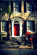 Carriages Photo Posters - House Door 3 in Charleston SC  Poster by Susanne Van Hulst