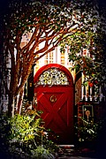 Architectural Garden Scene Posters - House Door 5 in Charleston SC  Poster by Susanne Van Hulst