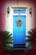 Blue House Posters - House Door 6 in Charleston SC  Poster by Susanne Van Hulst