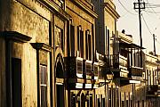 House Facades Gilded By The Setting Sun Old San Juan Puerto Rico Print by George Oze
