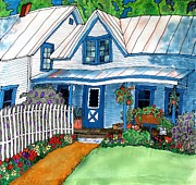 Linda Marcille Art - House Fence and Flowers by Linda Marcille