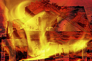 Red Roof Mixed Media Prints - House Fire Illustration 2 Print by Steve Ohlsen