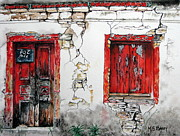 Greece Painting Originals - House For Sale by Maria Barry