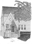 Historic Home Mixed Media Prints - House / Home Rendering Print by Marty Rice