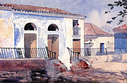 Railings Framed Prints - House in Santiago Framed Print by Winslow Homer