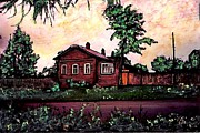 Russia Mixed Media Prints - House in Sergeiev Posad   Print by Sarah Loft