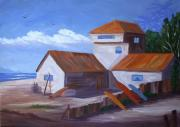 Calif. On Google Painting Originals - House in Sunset Beach by Bob Phillips