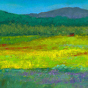Yellow Pastels Originals - House in the Meadow by David Patterson