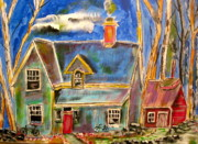 Litvack Naive Art - House in the Woods by Michael Litvack