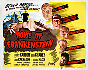Wolfman Framed Prints - House Of Frankenstein, 1950 Re-issue Framed Print by Everett