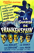 Spanish Poster Art Posters - House Of Frankenstein, Girl On Mid-left Poster by Everett