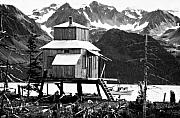 Alaska Prints Prints - House of Stilts BW Print by James Bo Insogna