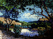 Cottonwood Paintings - House on a Bluff by Kenneth Green