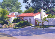 Commissions  Paintings - House on Crest Del Mar by Mary Helmreich