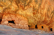 Cedar Photo Posters - House on Fire Anasazi Indian Ruins Poster by Gary Whitton
